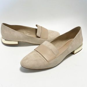 Aldo. Suede loafer. Gold clad Classic flats